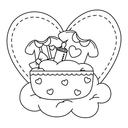 cradle with baby clothes over a cloud and heart behind vector illustration graphic design