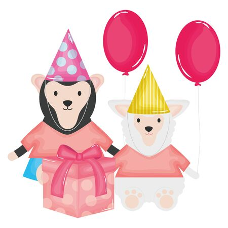cute monkey and sheep in birthday party