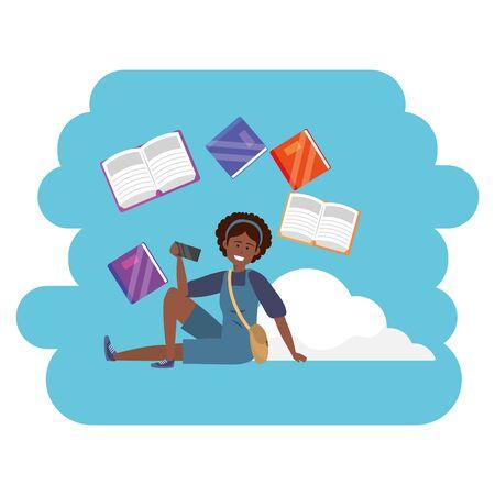 Online education millennial student cloud books