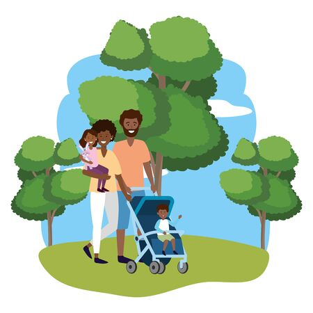couple with baby carriage