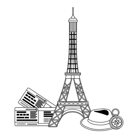 Eiffel tower landmark design, Travel trip vacation tourism journey and tourist theme Vector illustration