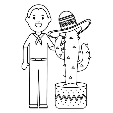 mexican man with cactus plant avatar character