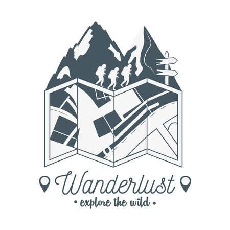 wanderlust label with forest scene and paper map  イラスト・ベクター素材