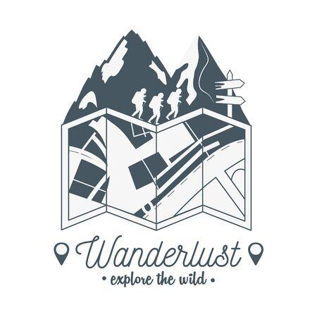 wanderlust label with forest scene and paper map Ilustração