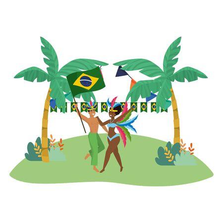 couple celebrating brazil carnival
