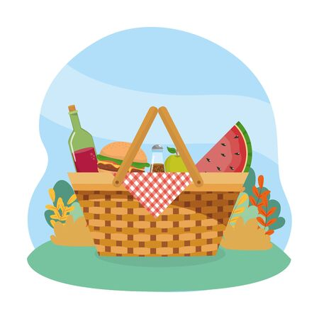hamper with wine bottle and hamburger and fruits