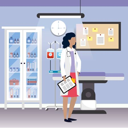healthcare medical doctor woman at hospital doctors office cartoon vector illustration graphic design