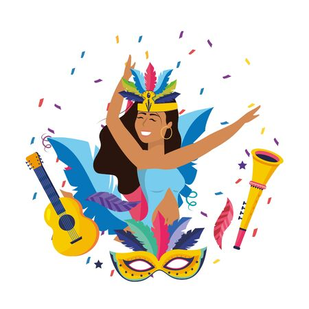 woman with feather headdress celebrating with guitar, mask and trumpet brazil carnival vector illustration graphic design