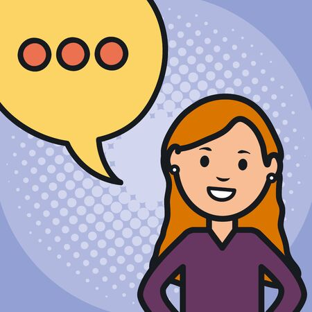 woman and speech bubble with consecutive points