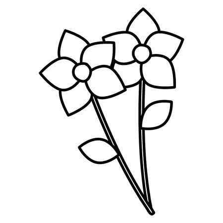 flowers and leafs garden vector illustration design Ilustração