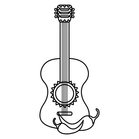 guitar instrument and chilli pepper