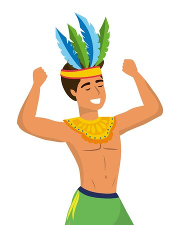 man celebrating brazil carnival with feather headdress and arms up vector illustration graphic design