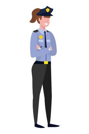 labor day job career police woman cartoon vector illustration graphic design