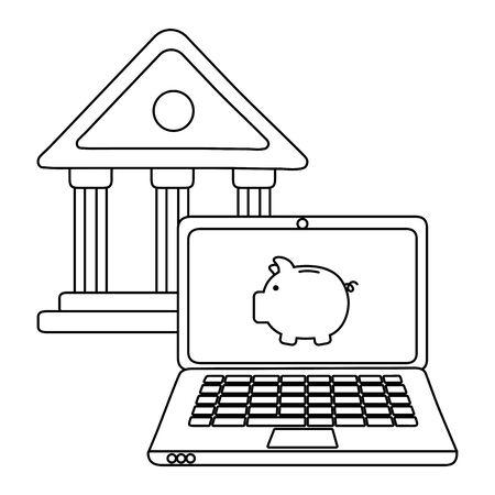 Laptop design, Store shopping online ecommerce media market and internet theme Vector illustration