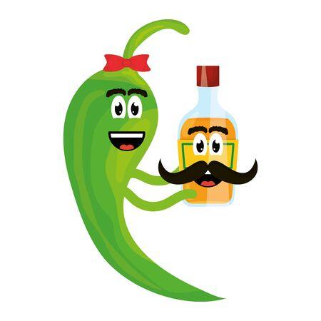Chilischote mit Tequilaflasche Comicfigur