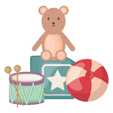 plastic ball with teddy and toys square frame and birthday elements vector illustration
