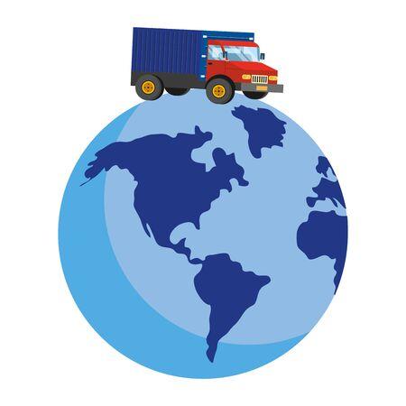 truck over a globe