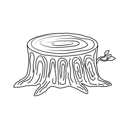 Diseño de ilustración de vector de icono de corte de tronco de árbol