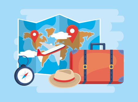 global map location with airplane and baggage