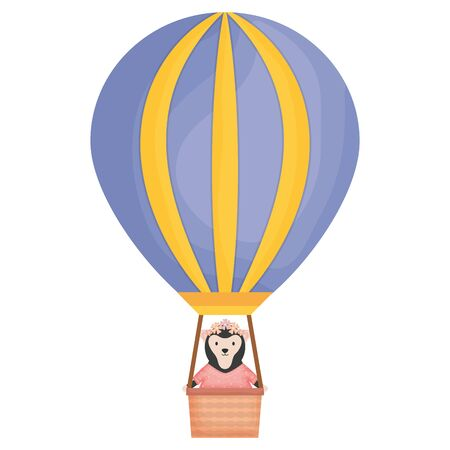cute female monkey in air balloon Illustration
