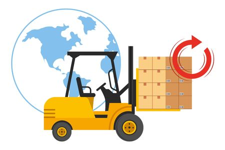 lift truck with boxes Illustration