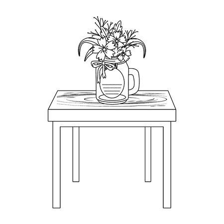 floral nature flowers mason jar plant pot over wooden table cartoon vector illustration graphic design Illustration