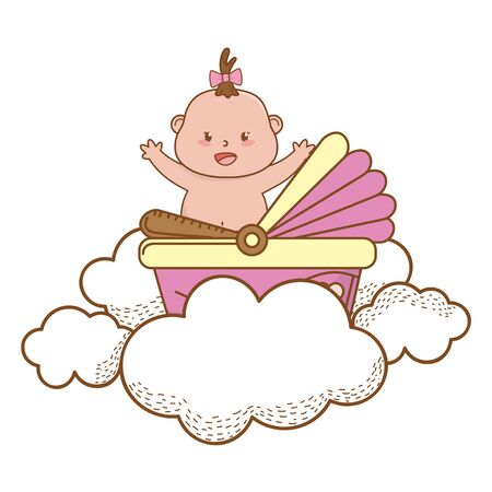 baby shower happy girl baby with up hands in basket between clouds cartoon card isolated vector illustration graphic design Vektoros illusztráció