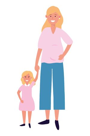 pregnant woman with child avatar cartoon character vector illustration graphic design Vectores