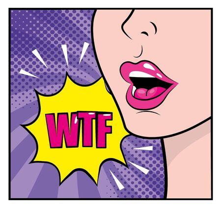 Frauengesicht mit wtf-Pop-Art-Nachricht-Vektorillustration