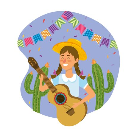 woman wearing hat with guitar and cactus plants vector illustration Banque d'images - 126804590
