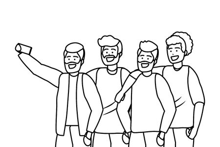 Millennial diverse group taking selfie smiling happy together wearing sweaters portrait black and white vector illustration graphic design