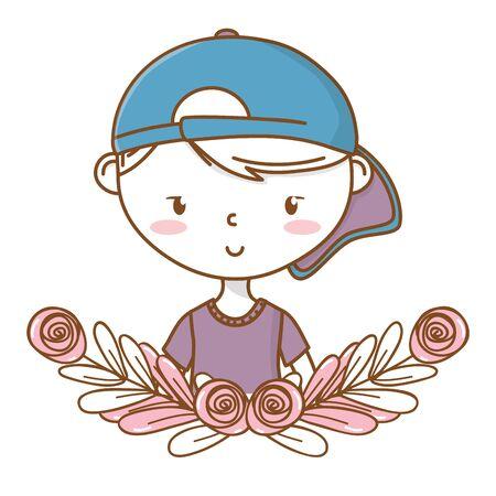 Stylish boy cartoon outfit portrait floral wreath frame Vectores