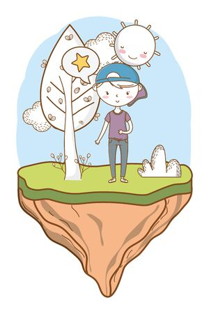 Stylish boy cartoon outfit nature background frame
