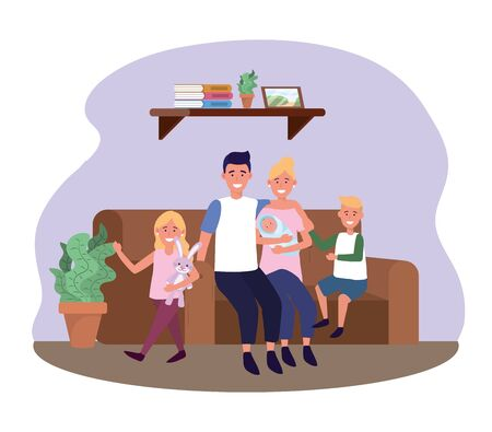 man and woman with daughter and sons in the sofa vector illustration