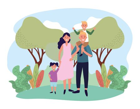 cute woman and man with their son and daughter vector illustration Ilustração