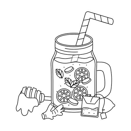 delicious healthy drink cartoon Ilustracja
