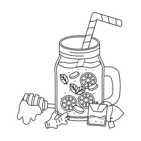delicious healthy drink cartoon Illustration