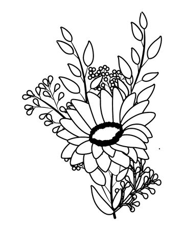 floral tropical cartoon in black and white