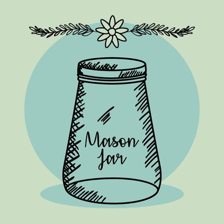 mason jar drawing art Stock fotó - 134306575
