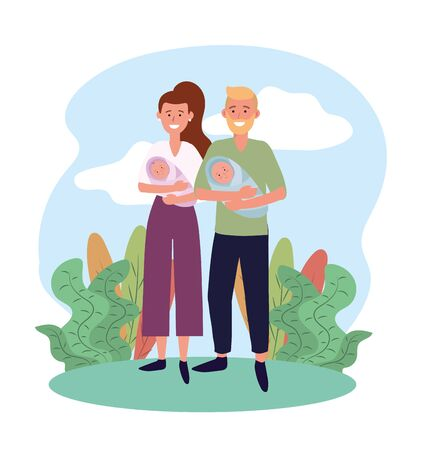 woman and man couple with theirs babies son