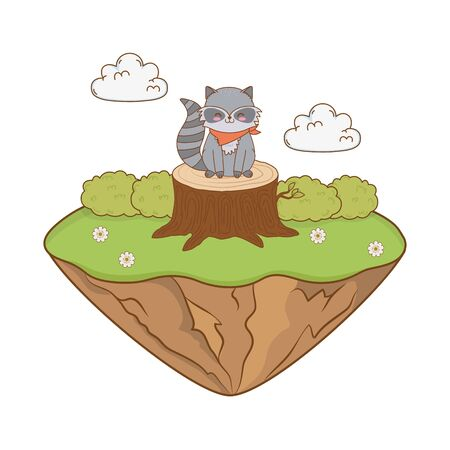 cute raccoon in the field woodland character Illustration