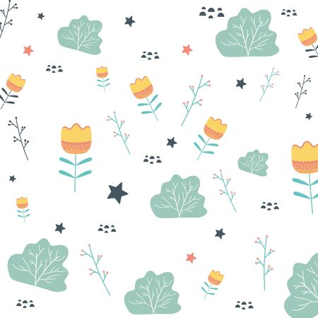 Flowers and leaves background Illustration