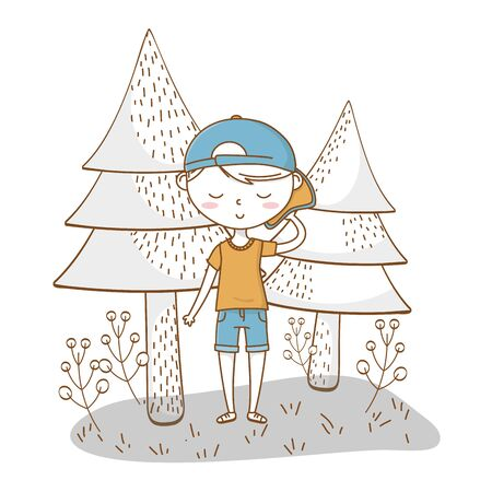 Stylish boy cartoon outfit nature background Vectores