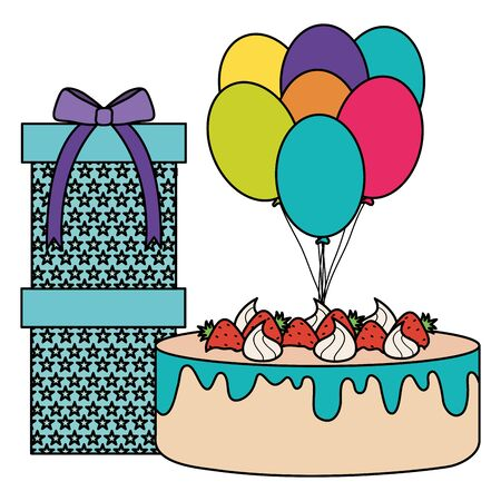 gift box with sweet cake and balloons helium floating Banco de Imagens - 127186429