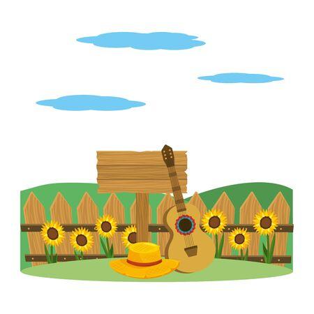wooden sign frame outdoor farm scene cartoon vector illustration graphic design Illustration