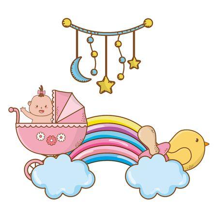 niedliches Babypartybaby mit Babypflegeelementenkarikaturvektorillustrationsgrafikdesign