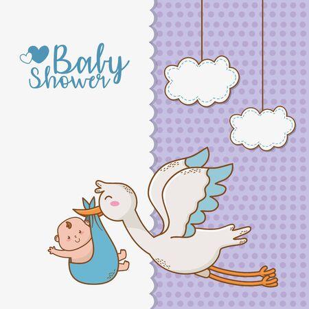 baby shower card with stork Standard-Bild - 127322695