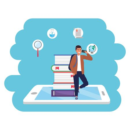Online education millennial student wearing jacket tablet and book stack background young person career search splash frame vector illustration graphic design Stock Illustratie