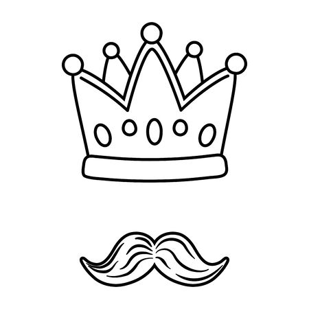 crown and moustache icon cartoon black and white vector illustration graphic design Ilustração