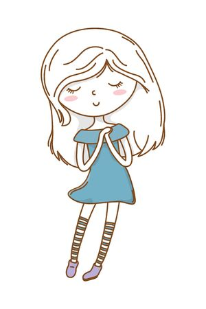 Cute girl cartoon stylish outfit dress isolated 写真素材 - 127537049